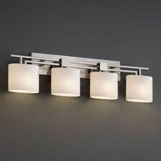 Fusion Aero Four-Light Brushed Nickel Bath Fixture | Bellacor