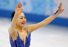 Mao Asada of Japan acknowledges the crowd after completing her routine in the women's free skate figure skating finals at the Iceberg Skating Palace during the 2014 Winter Olympics, Thursday, Feb. 20, 2014, in Sochi, Russia. (AP Photo/Vadim Ghirda) (1563×1105)