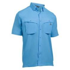 Under Armour Tide Chaser Short-Sleeve Fishing Shirt for Men - Carolina Blue/Rhino Gray - XL