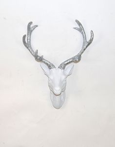 The Eloise with Silver Glitter Antlers- Small Stag Deer Head- Faux Taxidermy- White Resin Silver Glitter Antlers Faux Deer Head, Deer Heads, Stag Deer, Xmas Wishes, Faux Taxidermy, Cabins In The Woods, Wall Sculptures, Silver Glitter, Antlers