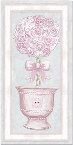 """""""Parisian Princess Topiary II"""" Canvas Art For Girls From Dish And Spoon Productions. Lovely Design Is Hand-Embellished With Swarovski Crystals And Fairy Glitter And Shimmers In All Angles Of The Light. Perfect Decor For A Royal Princess Nursery •*¨*•.¸¸✰"""