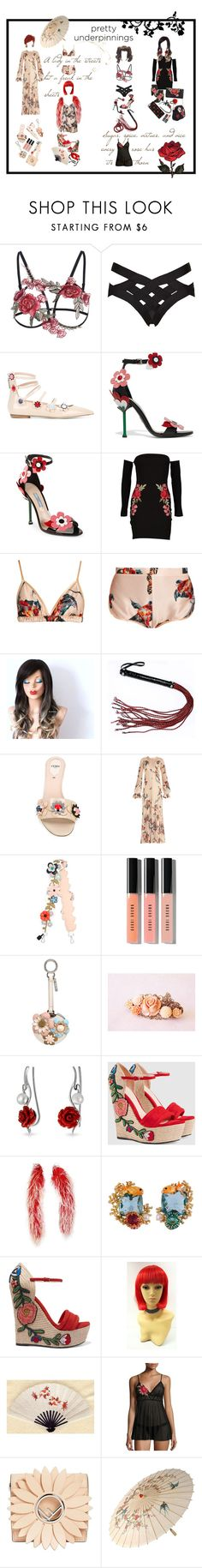 """pretty underpinings: unleashing the beast, sexy underpinnings"" by potterfluff7 ❤ liked on Polyvore featuring Agent Provocateur, Fendi, Prada, Boohoo, Katie Eary, Bobbi Brown Cosmetics, Gucci, Les Néréides and Hanky Panky"