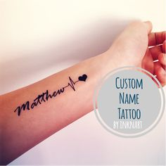Custom EKG Heartbeat Name temporary tattoo Pulse Heart by InknArt