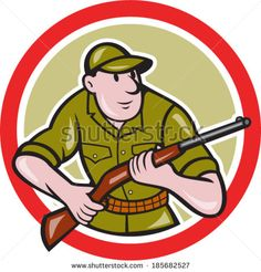 Illustration of a hunter carrying rifle facing front set inside circle on isolated background done in cartoon style. #hunter #cartoon #illustration