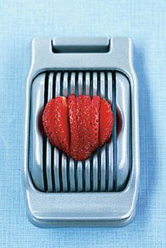 Slice strawberries or mozzarella with an egg slicer
