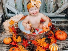 Fall Baby Pictures, Baby Girl Photos, Fall Photos, Fall Baby Pics, Baby Pumpkin Pictures, Fall Pics, Toddler Photos, Milk Bath Photos, Bath Pictures