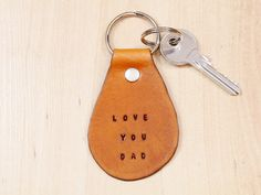 Leather Keychain Love You Dad Keychain by TinasLeatherCrafts