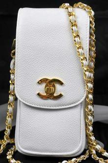 Vintage Chanel White Caviar Skin Phone Case Long Chain Bag