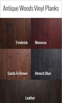 Vinyl Flooring that looks like real wood! Beautiful colors and samples available!  Visit: http://www.flooringinc.com/vinyl/planks/antiquity-vinyl-planks.html