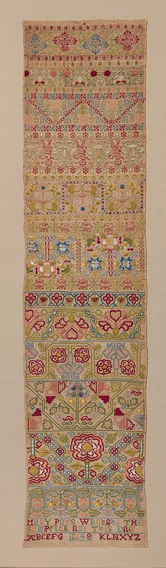 Sampler Mary Pots   Date:     1648 Culture:     British Medium:     Silk on linen; double running, satin, detached buttonhole, Montenegrin cross, herringbone, and chain stitches Dimensions:     L. 34 1/2 x W. 8 1/4 inches (87.6 x 21 cm)