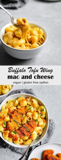 Vegan Buffalo Wing Mac and Cheese Easy, creamy coconut milk mac and cheese is topped with cripsy baked buffalo tofu wings for the most epic and mouth-watering meal! Tofu Recipes, Vegan Dinner Recipes, Vegan Dinners, Whole Food Recipes, Vegetarian Recipes, Healthy Recipes, Tofu Meals, Healthy Breakfasts, Dinner Healthy