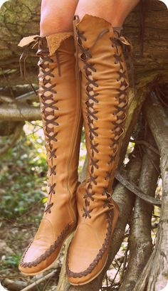 Leather Boots – Tan With Brown Knee High Leather Boots For Women | Gipsy Dharma | GiPSY Dharma unique handmade clothing and leather boots for women