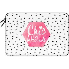 Macbook Sleeve - Chic Attitude Pink watercolor lettering black polka... ($60) ❤ liked on Polyvore featuring accessories, tech accessories and macbook sleeve
