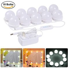 Coolmade Hollywood Style LED Vanity Mirror Lights Kit with 10 Dimmable Light Bulbs, 2 Color Lighting Modes Lighting Fixture Strip for Makeup Vanity Table Set in Dressing Room (Mirror Not Include) [post_tags Diy Vanity Mirror With Lights, Stick On Mirror, Lights Around Mirror, Make Up Lighting Mirror, Bulb Mirror, Vanity Light Bulbs, Lighted Mirror, Mirror Mirror, Light Fixtures