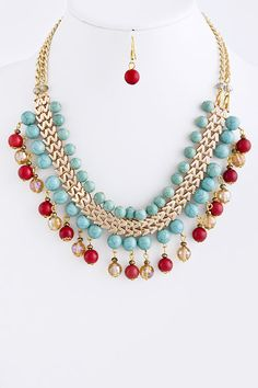 STONE BEAD CHAIN NECKLACE Turquoise-red