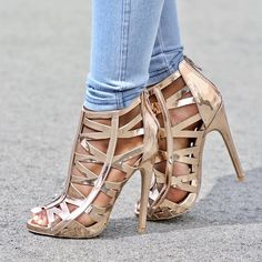 e72803e8aa Rose Gold Metallic Strappy Open Toe Single Sole High Heels Faux Leather