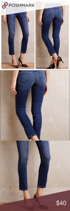 Anthropologie Pilcro Stet Ankle Skinny Side-Slit Super cute jeans in great condition. Comfy with some stretch! Great condition other than tag kind of peeling up. Side slit at ankle. No modeling or trades. Anthropologie Jeans Ankle & Cropped