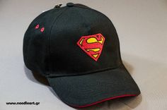 Baseball cap,Superman logo,Caps, baseball cap,embroidery,machine embroidered, logo on baseball  hat by NeedleArtGR on Etsy