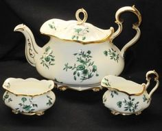 Royal Albert Magnificent Deco England Tea Pot Teapot Creamer and Sugar Bowl Set |