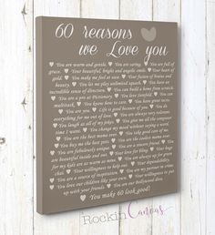 60th Birthday Present, Reasons we love you, 30th, 40th, 50th, 70th, 80th, 90th, Custom Birthday Gift, Anniversary gift, Mother BirthRockinCanvas
