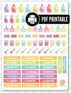 Cleaning Kit PDF imprimable Planner autocollants pour Erin Condren Planner, Filofax, papier prune                                                                                                                                                                                 Plus