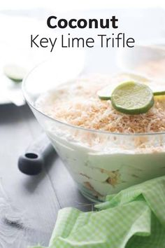 This cool and creamy Coconut Key Lime Trifle is a no-bake dessert recipe! Whipped topping, toasted coconut, and key lime come together to make this flavorful and smooth sweet treat.