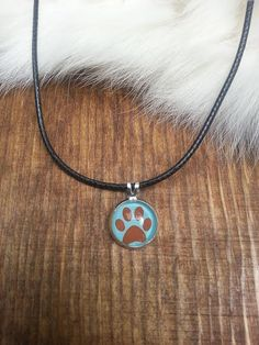 Silver Paw Print Necklace Leather Cord Chain Charm Jewelry Unique Find Dog Mom ~ Sale Expires Today