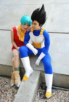 Bulma and Vegeta, Dragonball Z, cosplayed by IchigoKitty and TechnoRanma.