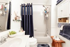 Here's how we tackled a bathroom makeover in one weekend, including bathroom organization, a new shower experience, and a style upgrade. Small Bathroom Storage, Bathroom Sets, Bathroom Organization, Modern Bathroom, Storage Organization, Yellow Bathrooms, Bathroom Wallpaper, Wet Rooms, Beautiful Bathrooms