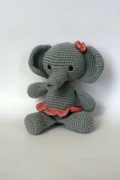 Elephant with Pink skirt and bow Amigurumi by TheSpunkyOnion, $40.00