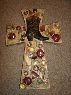 Decorated Western Cross Wooden Design Boot by CraftsbyDebbieLea, $35.00. Sold