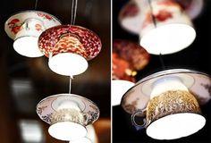 Lampa med hjälp av gamla koppar - borra, limma och sätta ihop typ?