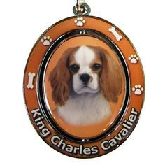 King Charles Cavalier Key Chain Spinning Pet Key ChainsDouble Sided Spinning Center With King Charles Cavaliers Face Made Of Heavy Quality Metal Unique Stylish King Charles Cavalier Gifts by E&S Pets Cavalier King Charles Dog, King Charles Spaniel, I Love Dogs, Cute Dogs, Cat Keychain, Spaniel Puppies, Dog Bones, Cat Memorial, French Bulldog Puppies