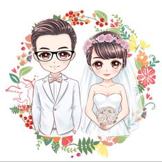 Custom anime portrait, cartoon portrait, caricatures, illustration portrait from photo, Cute personalized gift for family/friends to print. Wedding Illustration, Couple Illustration, Wedding Logos, Wedding Cards, Wedding Couple Cartoon, Wedding Caricature, Kindergarten Art Projects, Portrait Cartoon, Japanese Embroidery