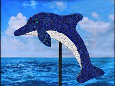 "Large 52"" lake blue color mosaic dolphin"
