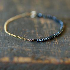 Black Magic Gold Bracelet Delicate Gemstone Sparkle Handmade Jewelry. $79.00, via Etsy.