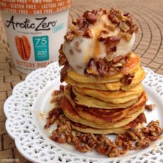 Ripped Recipes - Warm Buttery Pecan Pie Protein Pancakes - Is pie ever a bad idea?? This stack of warm buttery pecan pie protein pancakes is just the right comfort food you need in the morning to cure the workday blues and help you crush leg day!