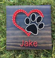 MADE TO ORDER Mini Dog Paw Heart with Name String Art Board by KailsStringArt on Etsy https://www.etsy.com/listing/465975209/made-to-order-mini-dog-paw-heart-with