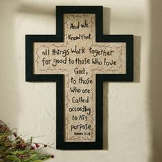 "This beautiful hand-crafted, embroidered message with black cross MDF frame is great for all seasons. 11 7/8""w x 16""h  www.athome.com/je..."