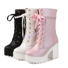 Lolita Women Block Lace Up High Heels Ankle Boot Girl Leather Platform Shoes SZ in Clothing, Shoes & Accessories, Women's Shoes, Boots Lace High Heels, Platform High Heels, Platform Boots, High Heel Boots, Heeled Boots, Bootie Boots, Shoe Boots, Strappy Shoes, Women's Heels