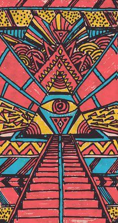 American Hippie Psychedelic Art Design Eye
