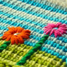 Tunisian crochet and embroidery flowers
