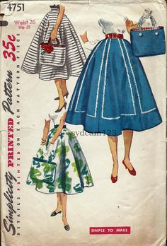 Vintage 1954 Full Six Gored Skirt and Matching Tote by sydcam123