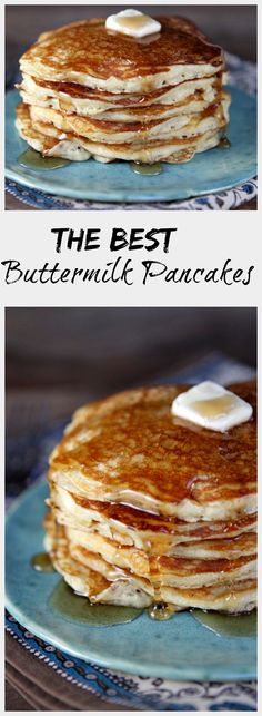 The Best Buttermilk Pancakes #recipe - a little bit crispy on the outside and tender and tangy on the inside.