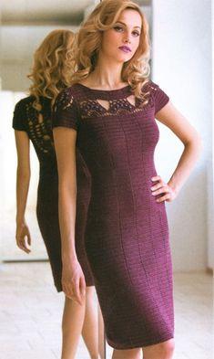 Вязаное платье крючком Bordeaux. Платье с ажурным верхом