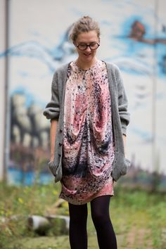 Katrien Van Hecke wearing her own dress with a glimpse at her unique dyeing process, via Coffeklatch