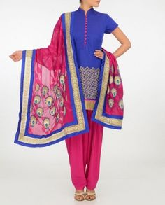 #Exclusivelyin, #IndianEthnicWear, #IndianWear, #Fashion, Royal Blue Suit with Zari Work