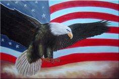 Flying Bald Eagle / American Flag Animal,Patriotic-Painting Naturalism ...