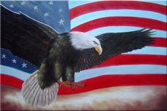 Flying Bald Eagle / American Flag Animal,Patriotic-Painting Naturalism ...
