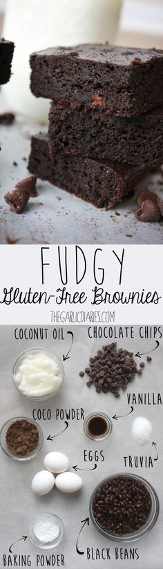 Fudgy Gluten-Free Brownies -- maybe flax eggs Healthy Desserts, Delicious Desserts, Yummy Food, Healthy Recipes, Free Recipes, Clean Recipes, Gluten Free Baking, Gluten Free Desserts, Sin Gluten
